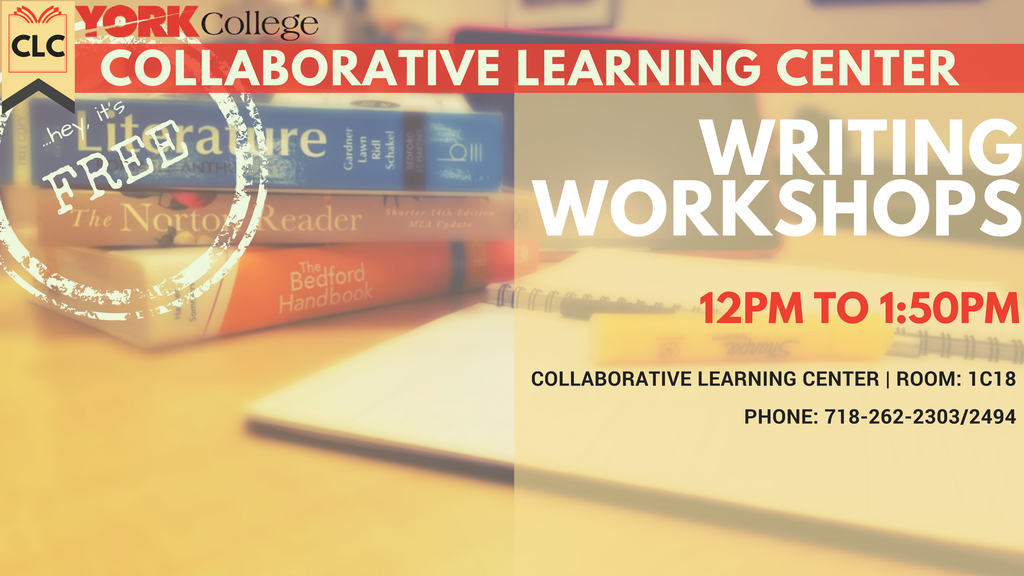 The Collaborative Learning Center is running a series Writing Workshops facilitated by CLC Writing Consultants.